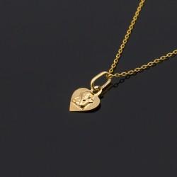 Złoty medalik serce z Aniołkiem