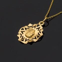 Złoty medalik Matka Boska Częstochowska ażur