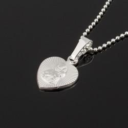 Srebrny medalik serce Matka Boska