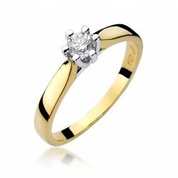 Pierścionek zaręczynowy białe żółte złoto brylant 0,30 ct klasyczny