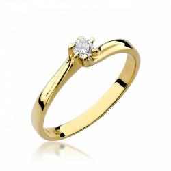 Pierścionek zaręczynowy białe żółte złoto brylant 0,09 ct klasyczny