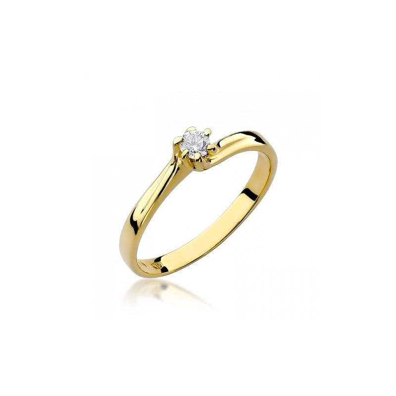 Pierścionek Zaręczynowy Białe żółte Złoto Brylant 009 Ct Klasyczny
