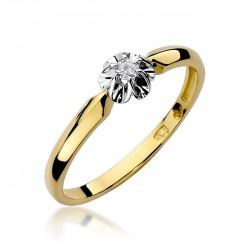 Pierścionek zaręczynowy białe żółte złoto brylant 0,10 ct klasyczny
