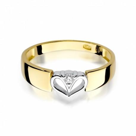 Pierścionek Zaręczynowy Białe żółte Złoto Brylant 010 Ct Serce