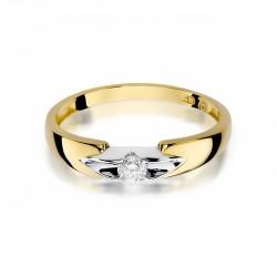 Pierścionek zaręczynowy białe żółte złoto brylant 0,30 ct klasyczna oprawa