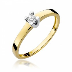 Pierścionek zaręczynowy  z białego żółtego złota brylant 0,15  ct