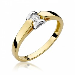 Serce pierścionek zaręczynowy z białego i  żółtego złota z brylantem 0,15 ct