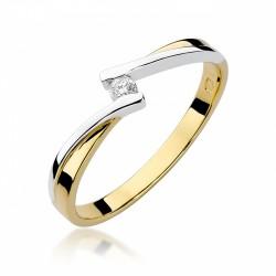 Pierścionek zaręczynowy z białego i żółtego złota  0,05 ct