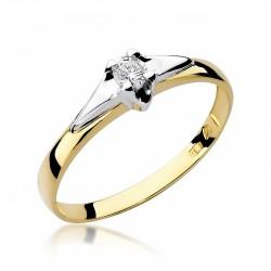 Pierścionek zaręczynowy z białego i żółtego złota  0,08 ct