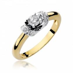 Pierścionek zaręczynowy z białego i żółtego złota  0,12ct