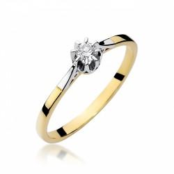 Pierścionek zaręczynowy z białego i żółtego złota  jednokamieniowy   0,30ct